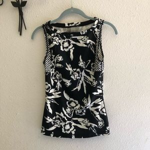 Athleta Black Print Flowers Top Size XXS